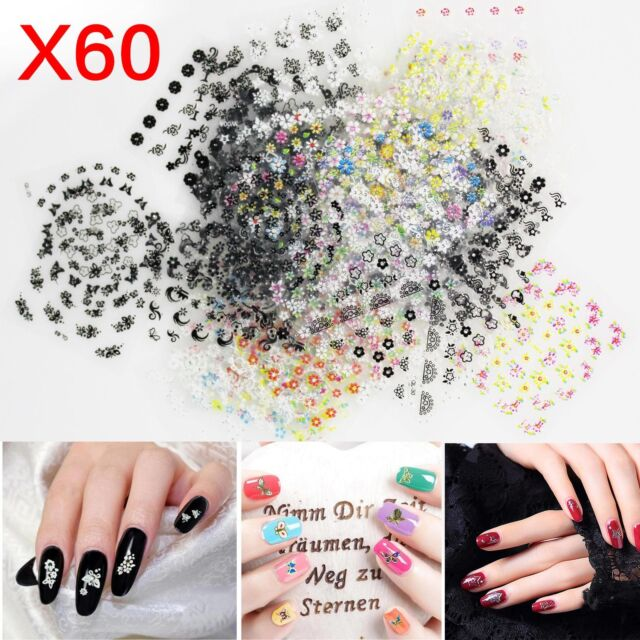 60x Sheets 3d Floral Design Nail Art Stickers Tips UV Decal Flower ...