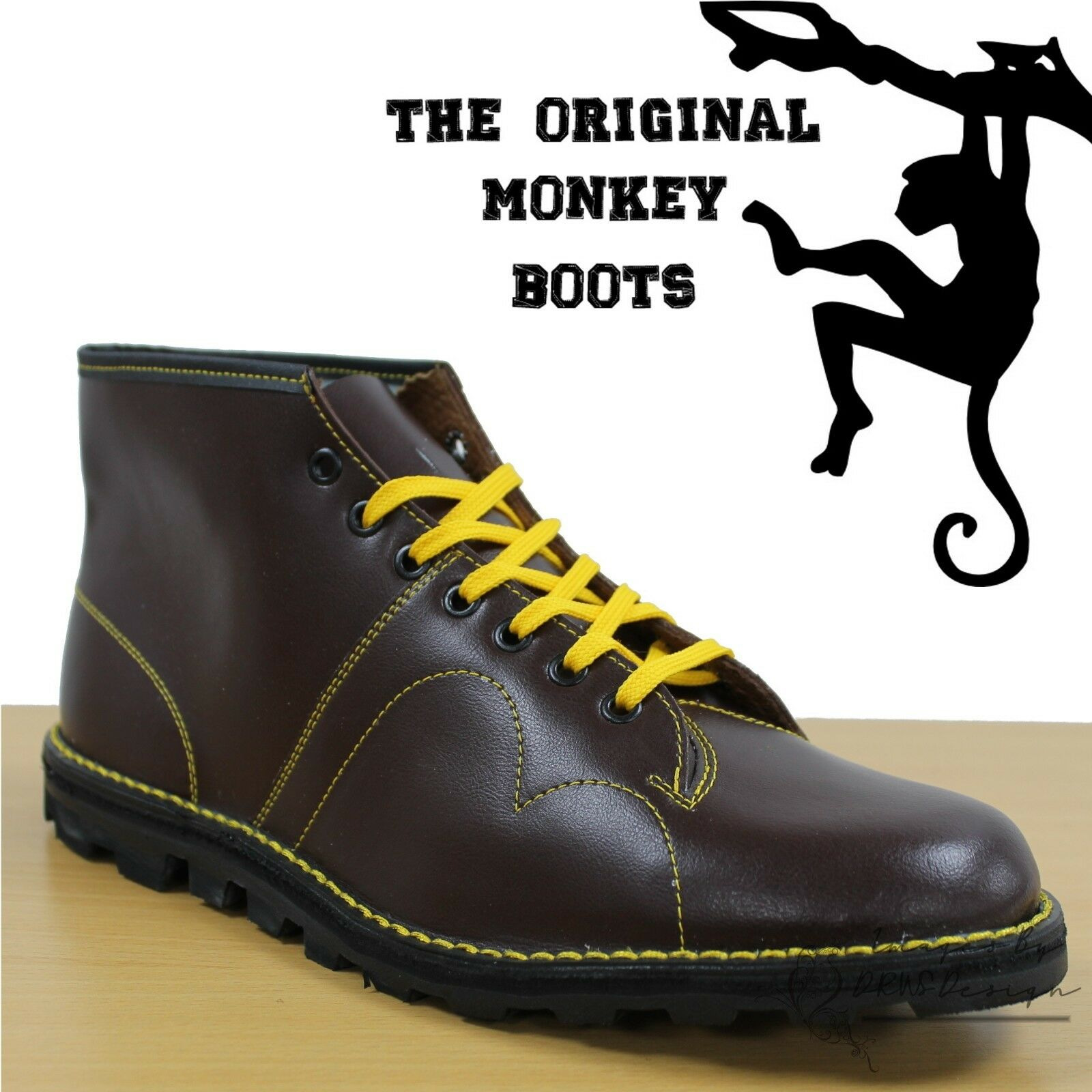 34f489b7c14 Details about Grafters The Original Monkey Boots Mens Womens & Kids Retro  60's Burgundy Shoes