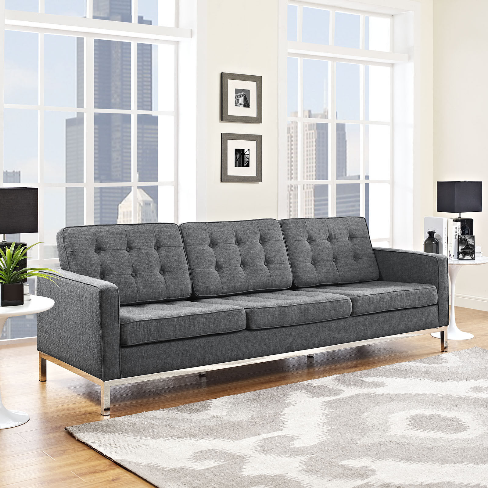 Excellent Details About Mid Century Modern Tufted Upholstered Fabric Living Room Sofa Couch In Gray Spiritservingveterans Wood Chair Design Ideas Spiritservingveteransorg