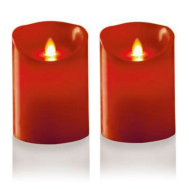 2+x+Premier+Battery+Real+Wax+Candle+Dancing+Flame+Red+Christmas+Safe+13cm+NEW
