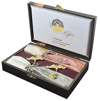 Silk Twin Crane Titanium Gold Korean Spoon Chopsticks Set Dinner Tableware Gift