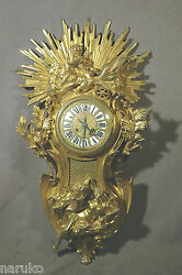 GILDED BRONZE CARTEL CLOCK CHERUB IN CHARIOT w DOVES LARGE CLEAN & MAGNIFICENT