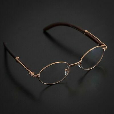 New Oval Wood Buffs clear glasses Oval UV400 Lenses Gold frame RICH buy 1 get (Get Lenses)