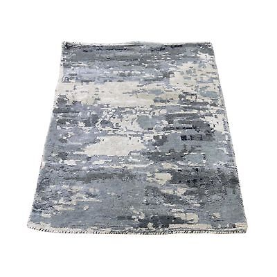 2'x3' Hi-Low Pile Abstract Design Wool And Silk Hand-Knotted Rug Mat R43220 (Hi Low Mat)