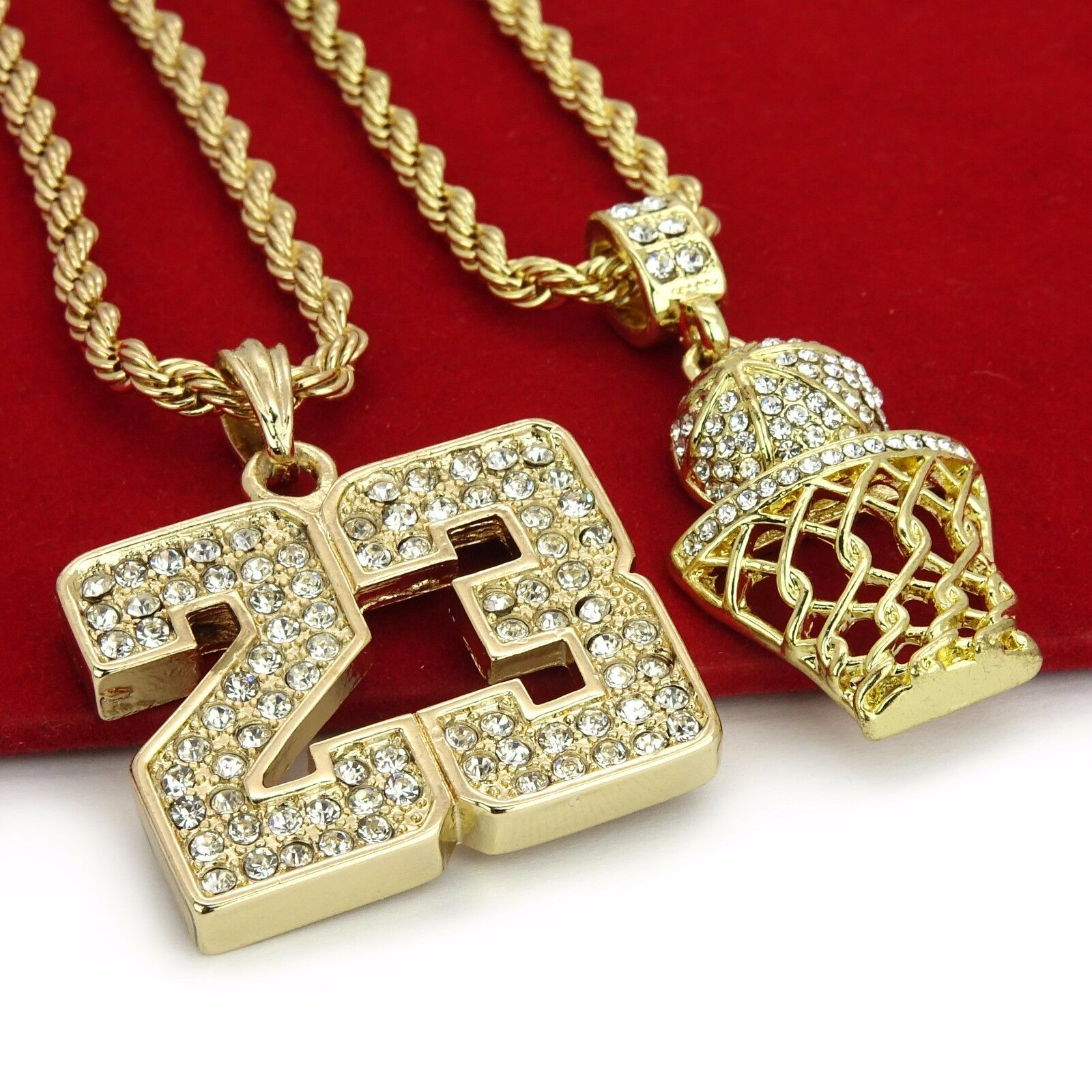 Gold Plated Silver Necklace Set 290 00: 14K Gold Plated Hip Hop Iced Out Basketball & 23 Pendant W