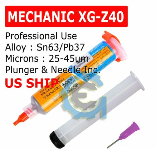 MECHANIC XG-Z40 10cc Syringe Solder Paste Flux Sn63/Pb37 25-45um 10cc Tested
