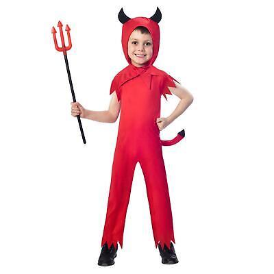 Boys Toddler Devil Satan Jumpsuit with Horns Tail Halloween Classic Fancy Dress