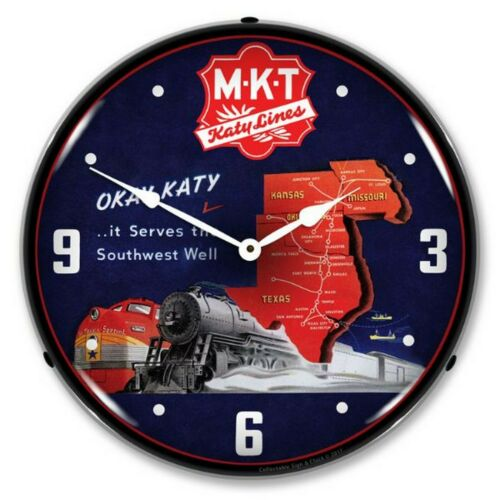 MKT Katy Lines LED Lighted Wall Clock ~ Made in USA ~
