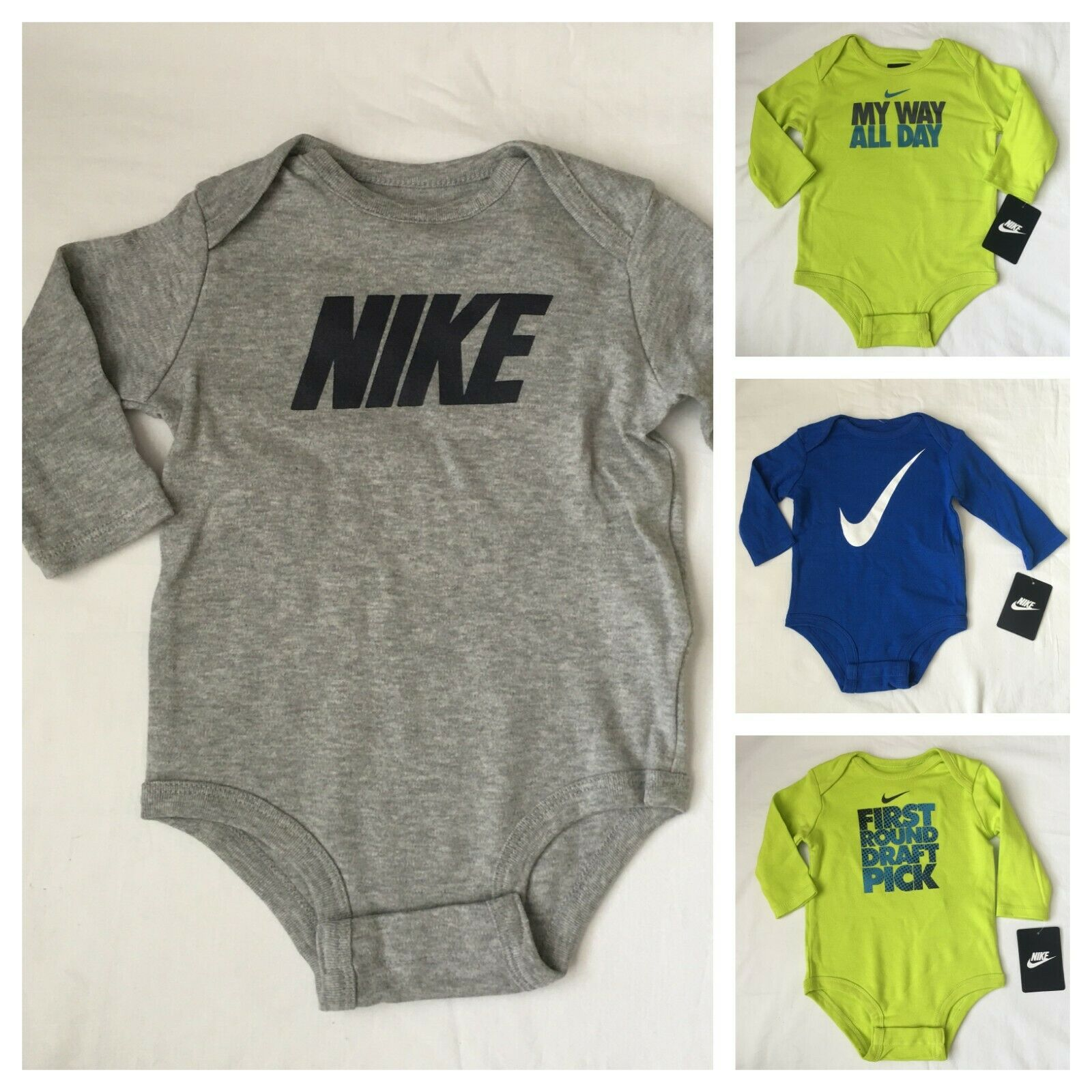 Nike Long Sleeved Bodysuit, Size 0-3, 3-6, 6-9, 9-12 months,