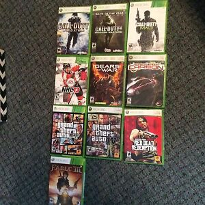 Xbox360, controllers, 10 games, rechargeable battery packs