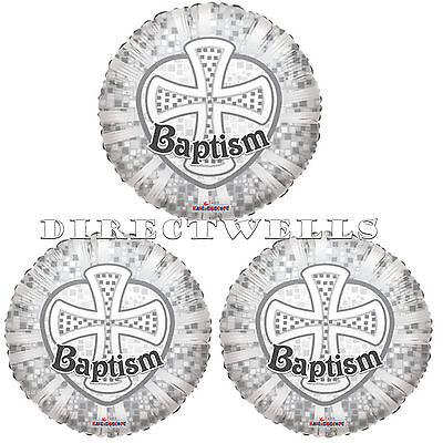 Baptism Silver Cross Mylar or Foil Balloons 18 Inch (3 Balloons) - Silver Mylar Balloons