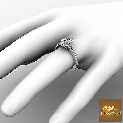 Beautiful Marquise Diamond Halo Pave Set Engagement Ring GIA F VVS2 Platinum 1Ct 3