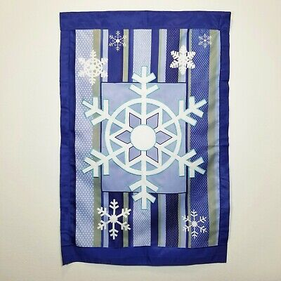 Winter Snow Flakes Yard Flag Banner 30 X 44 Christmas Holiday Decorations