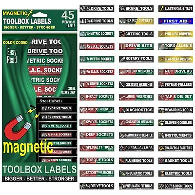 Ultimate Magnetic Tool Box Labels (Green) to fit all tool storage cabinets
