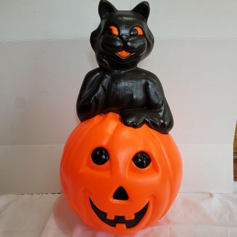 "Vntage 1993 Halloween Blow Mold black cat inside pumpkin Carolina Enterprise 35"""