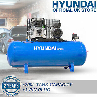 Air Compressor 200L Litre Belt Drive 3hp 145psi 10bar 14cfm 2cy HYUNDAI