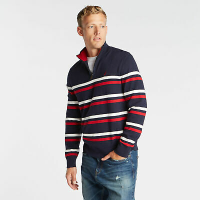 Nautica Mens Quarter Zip Breton Striped Sweater