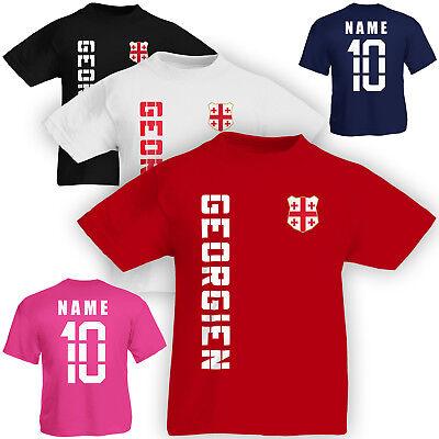 Kinder T-Shirt Trikot Georgien inkl. Name & Nummer S M L XL XXL Fussball Team Na (Georgien Namen)