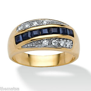 MENS-BLUE-SAPPHIRE-18K-GOLD-OVER-STERLING-SILVER-RING-SIZE-7-8-9-10-11-12-13