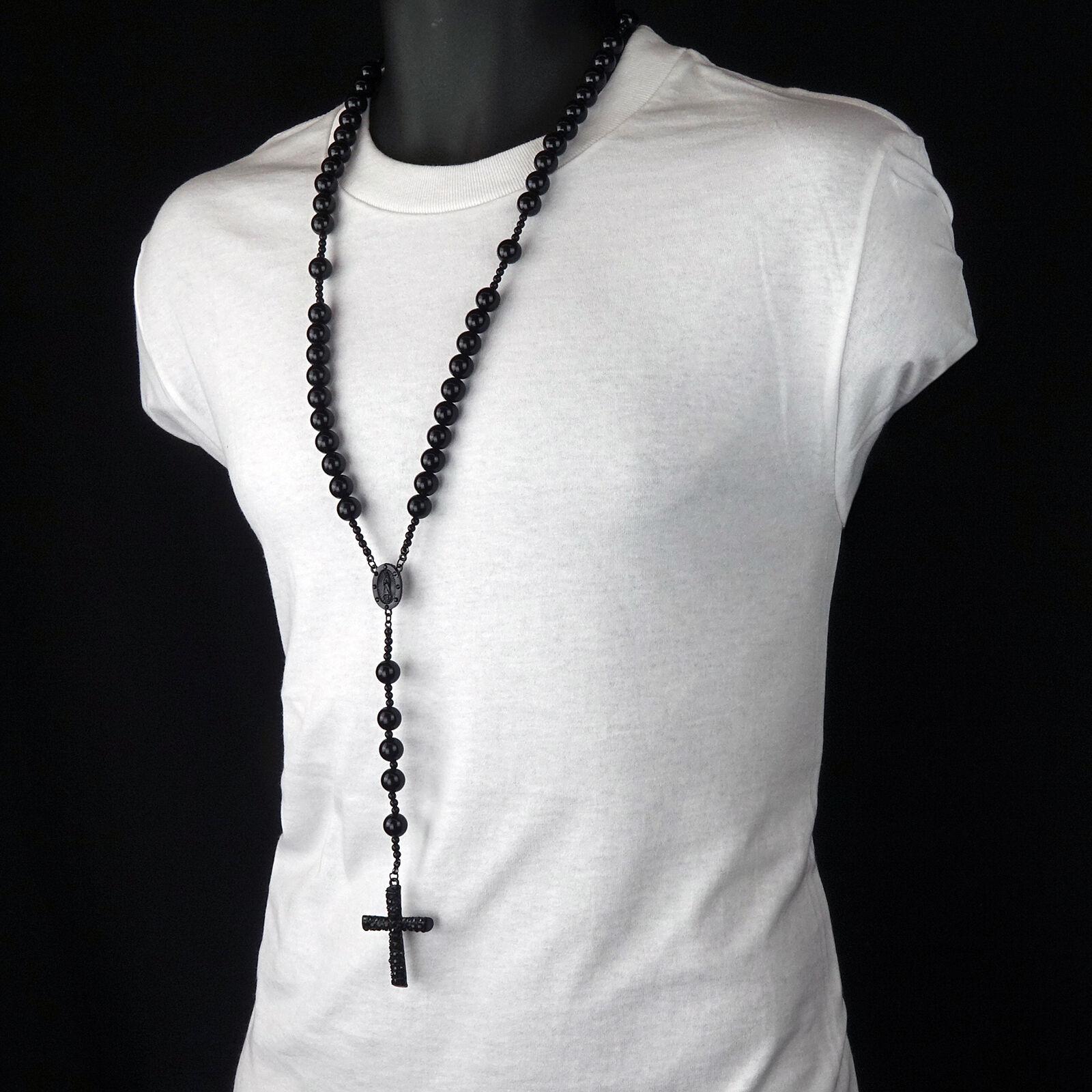 Men's Hip Hop 15mm BLACK Beads Guadalupe Rosary & Jesus Cros