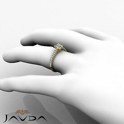 French V Pave Round Natural Diamond Engagement Cathedral Ring GIA E VVS1 0.8 Ct 8