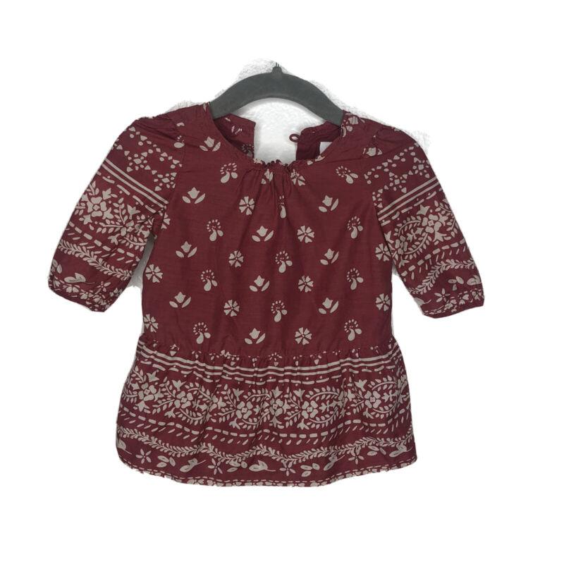 Burberry Baby Girls Mini Burgundy Tai's Print Dress 0-3M 3 Months