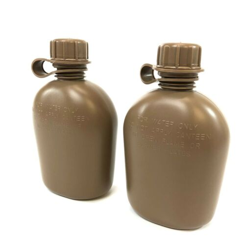 2 Pack USGI 1 Quart Canteen, US Military Heavy Duty Plastic Bottle, Coyote Brown