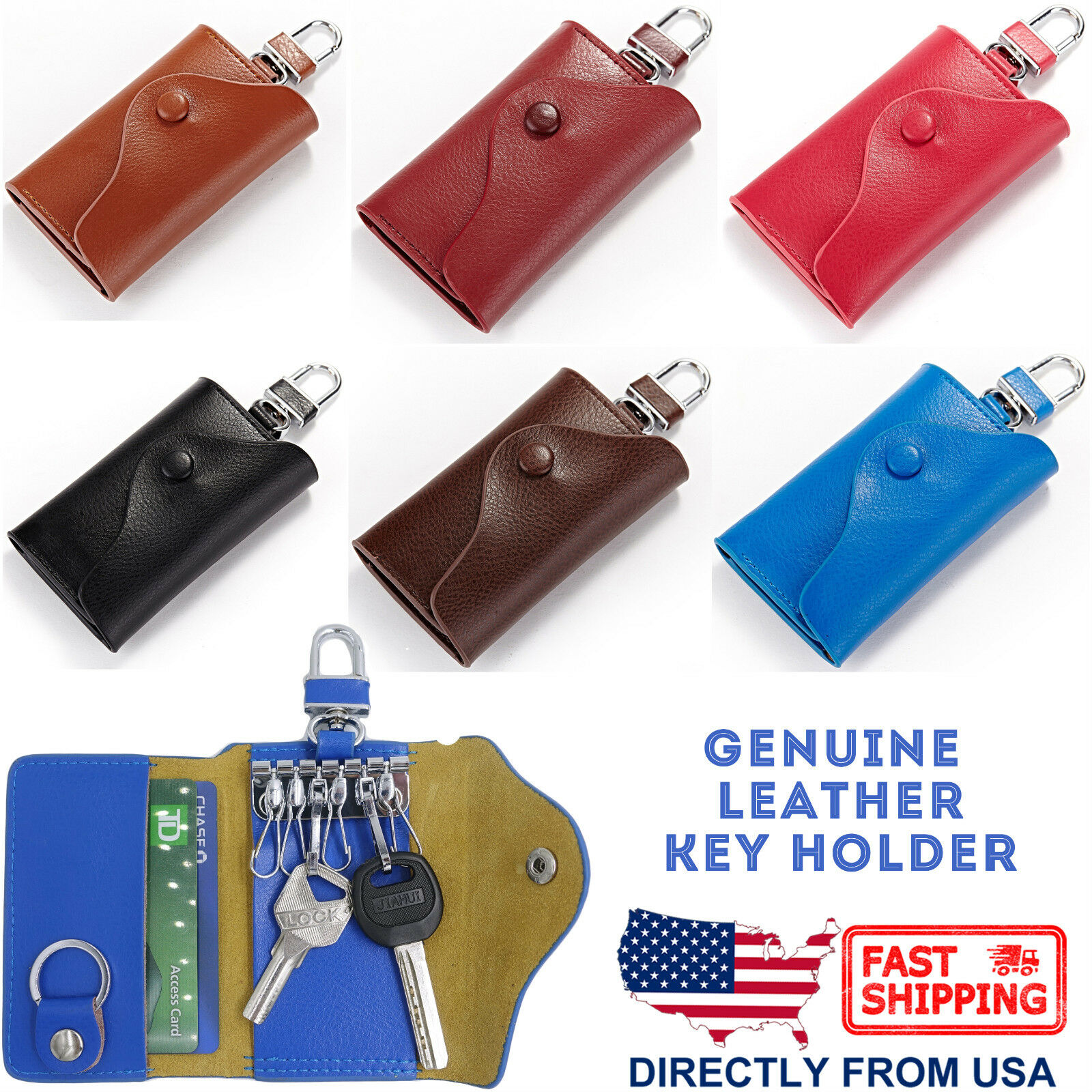 Leather Key Case Wallet Pouch 6 Snap Closure Hooks 1 Key Ring Card Slots, Unisex Clothing, Shoes & Accessories