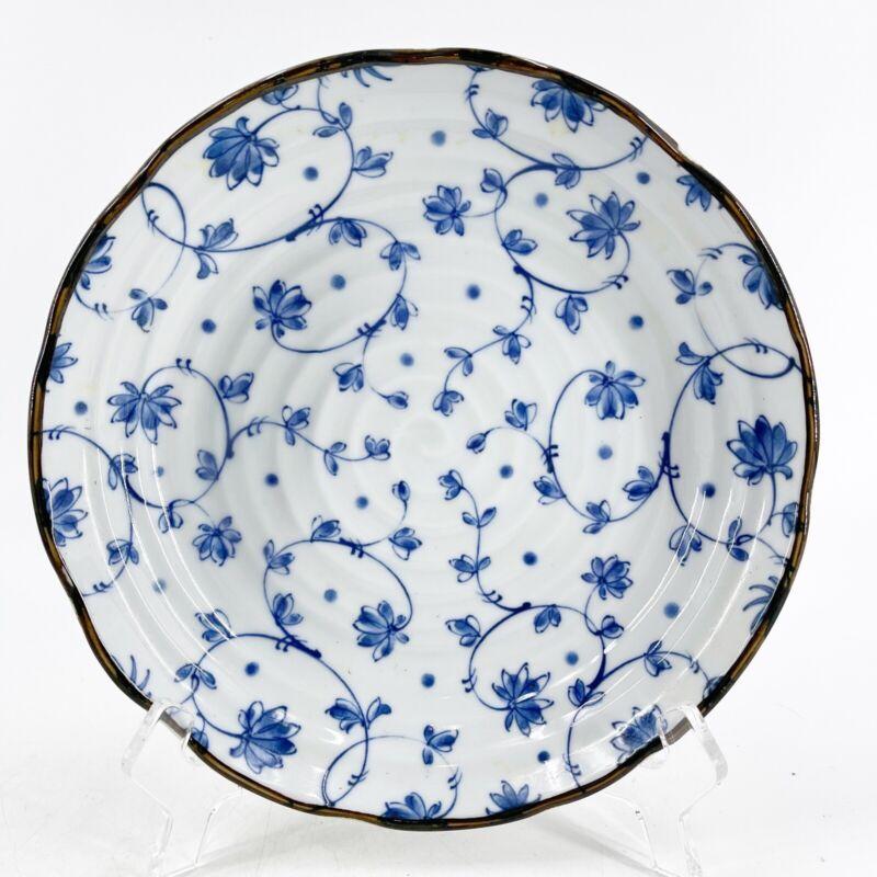 "Vintage Japanese Blue & White Serving Bowl Floral Flowers Pattern Scalloped 8.5"""