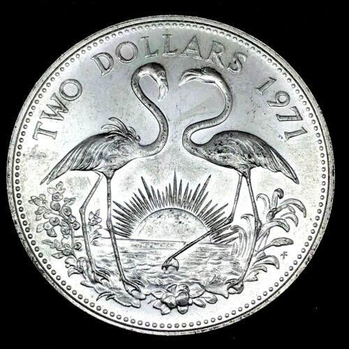 #1~1971 Bahamas~FLAMINGOS~ Two Dollars $2 Large 0.925 Silver 29.8 Gr.~ UNC Coin.