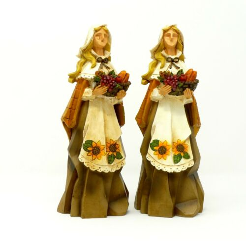 "Pacific Rim Pilgrim Girl Composite Figurine Thanksgiving Fall Theme 8"" Set Of 2"