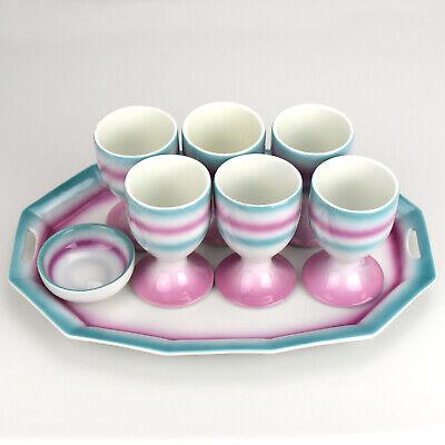 Art Deco Bauhaus Era Porcelain Egg Cup Set on Tray (Bauhaus Art Deco)