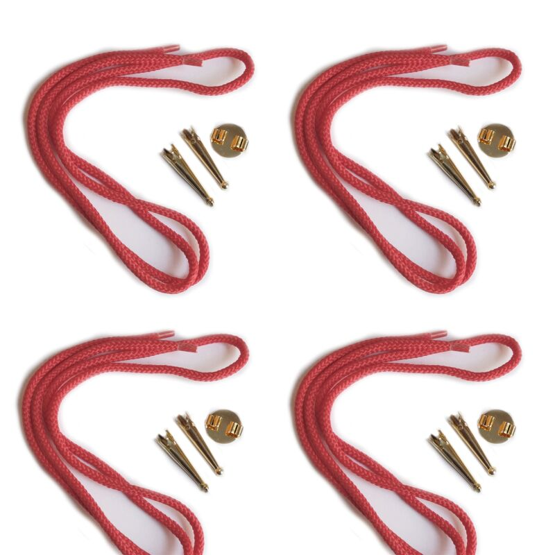 Blank Bolo Tie Parts Kit Round Slide Smooth Tips Red Cord Goldtone Pk/4