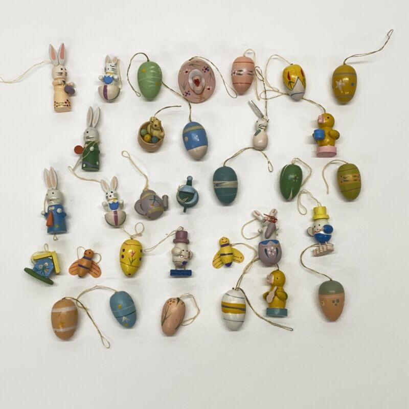 Vintage Lot of 32 Painted Wood Mini Easter Tree Ornaments Egg Bunny Bird Bees