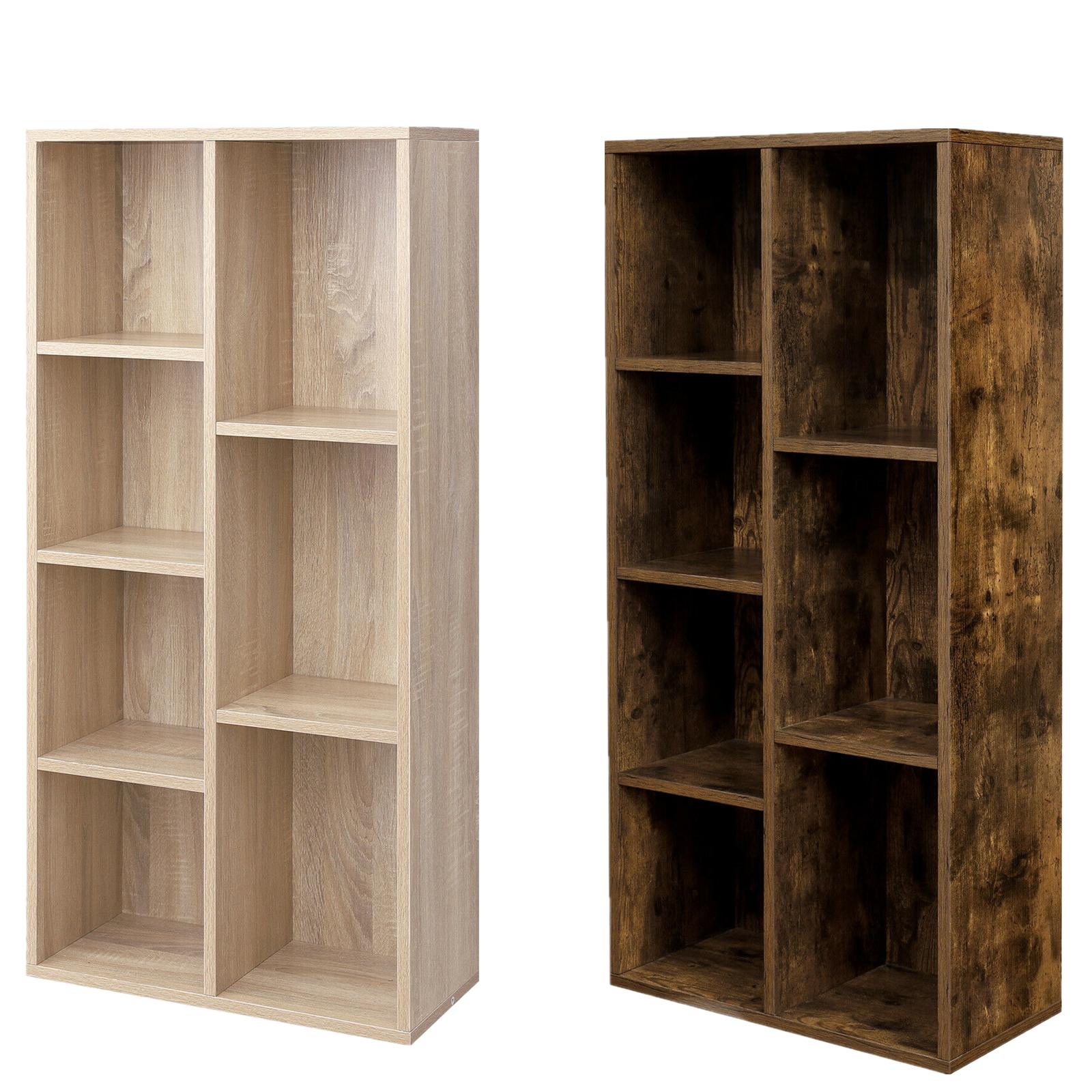 VASAGLE Bücherregal Raumteiler 7 Fächer Standregal Aktenregal Eiche/Vintage Holz
