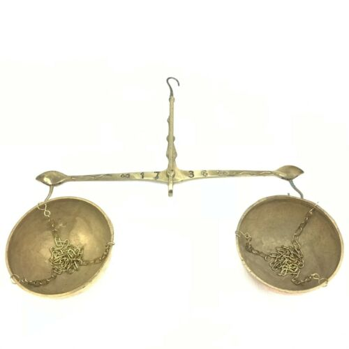 Vintage brass hanging balance scale