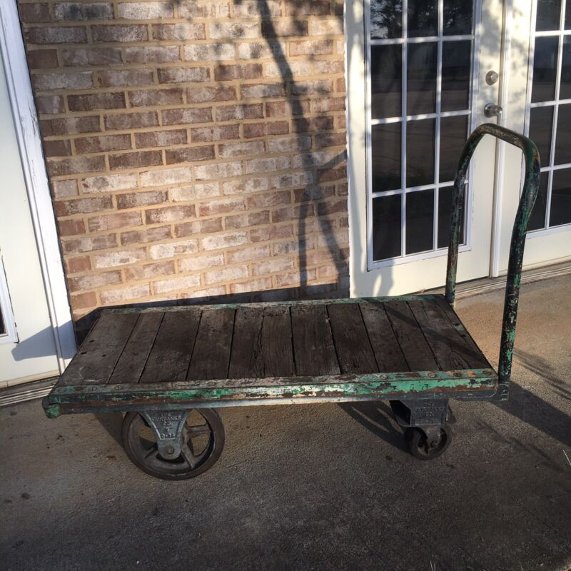 Fairbanks Iron Industrial Cart Factory Wooden Green Railroad Large