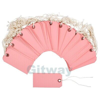 100 Pink Tags 4 34 X 2 38 Size 5 Inventory Shipping Hang Tag With String