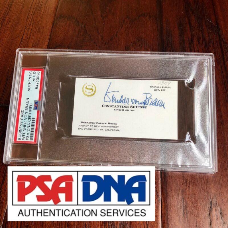 WERNHER VON BRAUN * PSA/DNA Slabbed * Autograph Card Signed * Full Signature