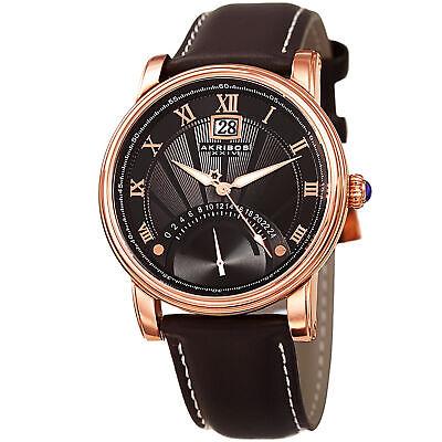Men's Akribos XXIV AK913RG 24 Hour Retrograde Genuine Brown Leather Strap Watch