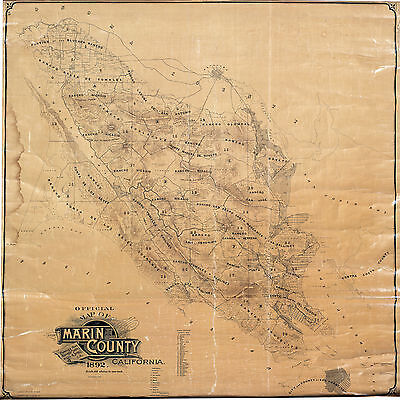 1892 Map Marin County California Wall Poster Land Ownership History Genealogy