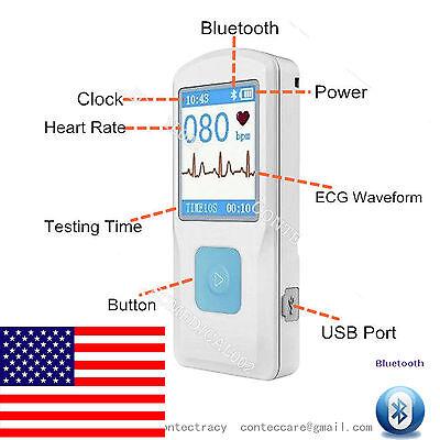 Portable Ecg Ekg Machine Heart Beat Monitorusbbluetooth Lcdcontecus Stock