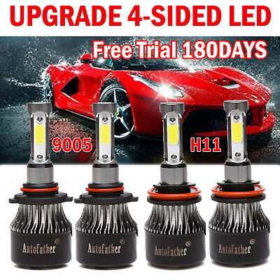 9005 + H11 4-Sided LED Headlight 2000W 225000LM Kit High Low Beam Super Bright