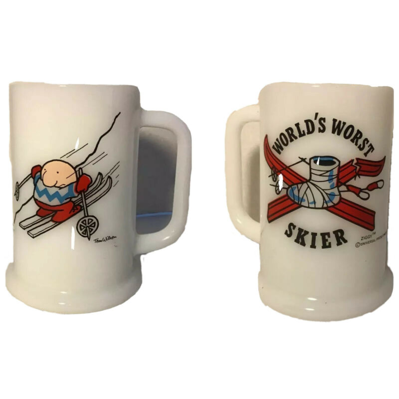 Ziggy's World's Worst Skier Coffee Cup Milk Glass Mug Tom Wilson Vintage