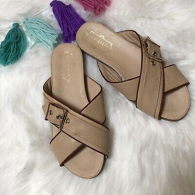 TED BAKER London Lapham Beige Nude Leather Slide Sandals Size 36 US 5 Ted Leather Sandals