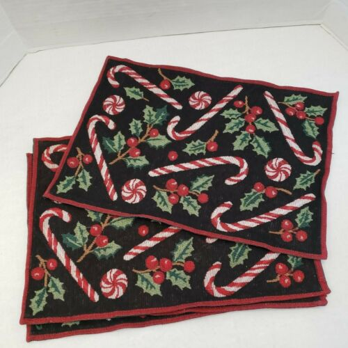 4 Christmas Tapestry Placemat Candy Cane Holly Berry Berries 194-P 13 x 19""
