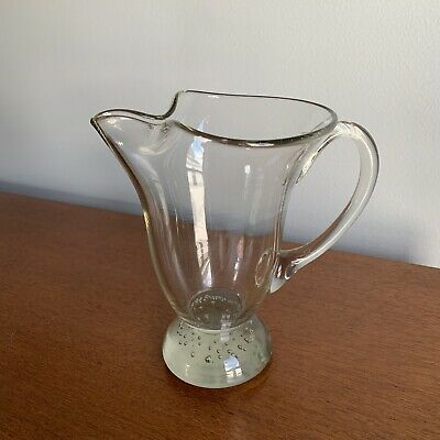 Mid Century Erickson Glass Pitcher - Controlled Bubble Bullicante Smokey - MCM
