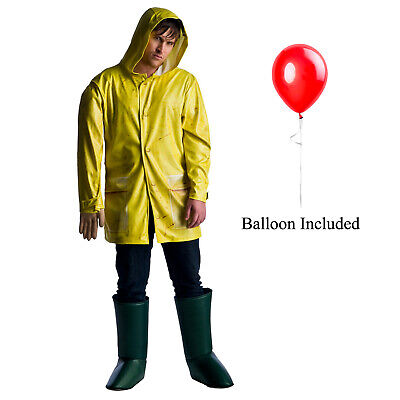 Balloon Halloween Costumes (Mens IT Georgie Denbrough Raincoat Boots Red Balloon Arm Halloween)