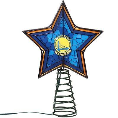 Golden State Warriors Mosaic Christmas Tree Topper NBA Basketball Light Up Star
