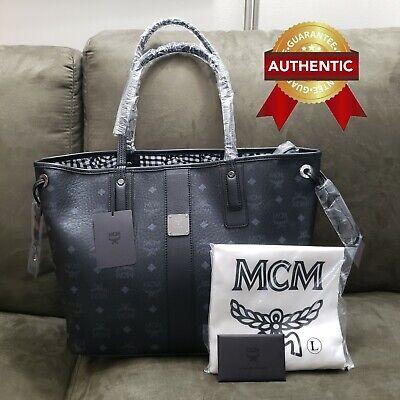 NEW Authentic MCM Medium Reversible Liz Shopper tote bag BLACK